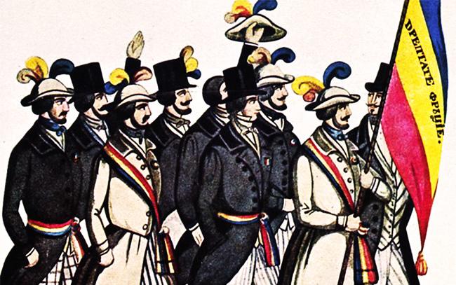 """Tricolorul Revoluționarilor cu deviza """"Dreptate Frăție"""" - detaliu"""