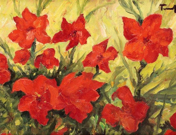 NicolaeTonitza - 1935-Clematis-Red-Flowers